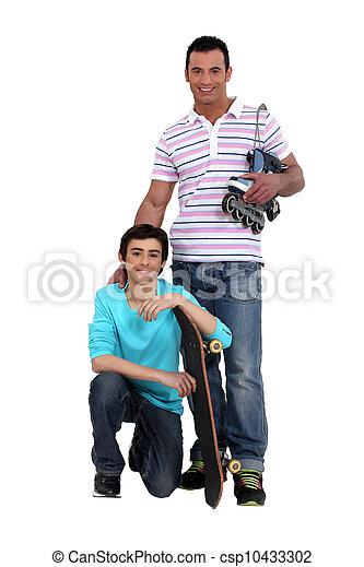 スケート, 父, 息子 - csp10433302