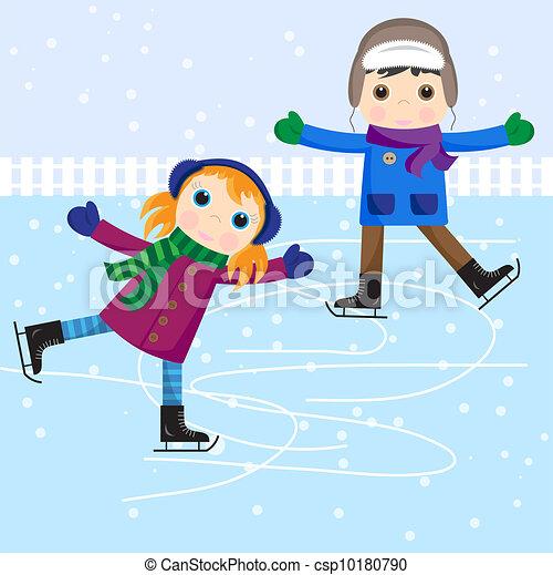 スケート, 男の子, 女の子, 氷 - csp10180790