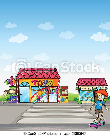 スケート, 男の子, 通り - csp12368647