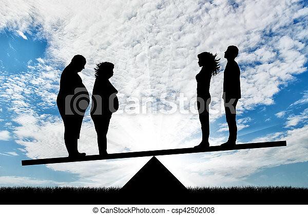 スケール, 恋人, 人々, 脂肪, 薄くなりなさい, 立ちなさい - csp42502008