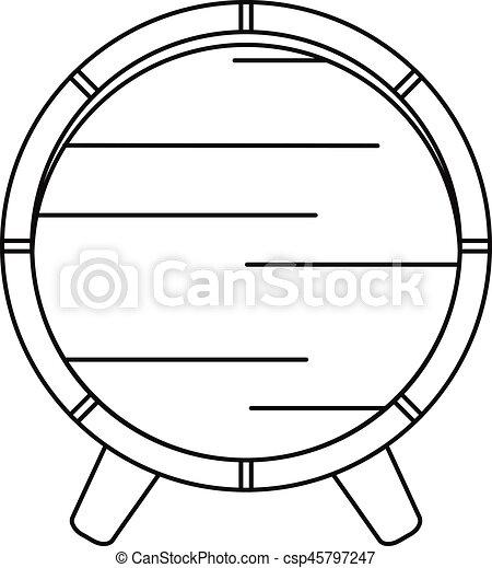 スタイル, アウトライン, 木製である, アイコン, 樽, 棚 - csp45797247