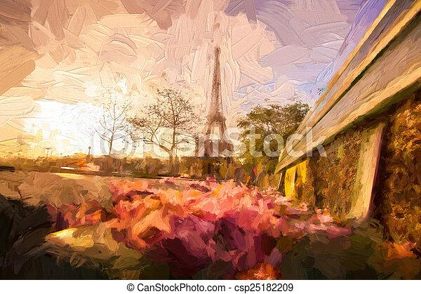 スタイル, エッフェル, パリ, フランス, アートワーク, タワー - csp25182209