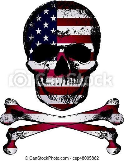 スタイル, グランジ, アメリカ, 頭骨, 型, 手, 旗, 引かれる, texture. - csp48005862