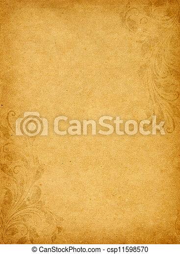 スタイル, グランジ, 型, victorian, ペーパー, 背景, 古い - csp11598570
