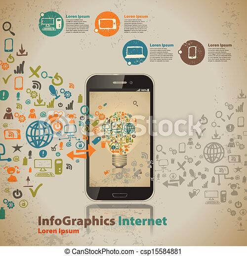 スタイル, コンピュータ, 型, infographic, テンプレート, 技術, 雲 - csp15584881