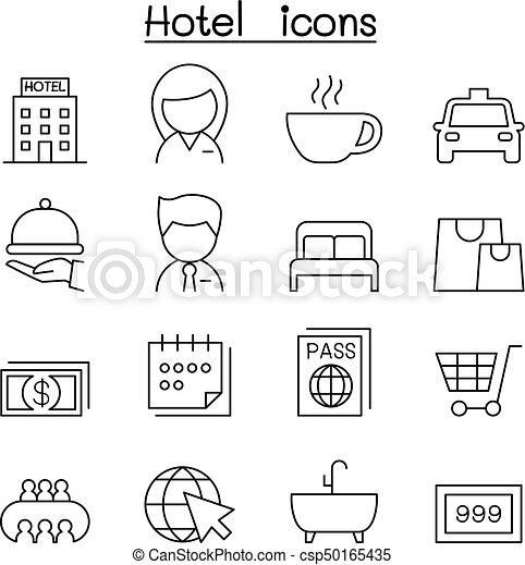 スタイル, セット, ホテル, 薄いライン, アイコン - csp50165435