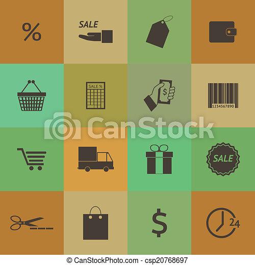 スタイル, セット, 買い物, アイコン, set., ベクトル, レトロ - csp20768697