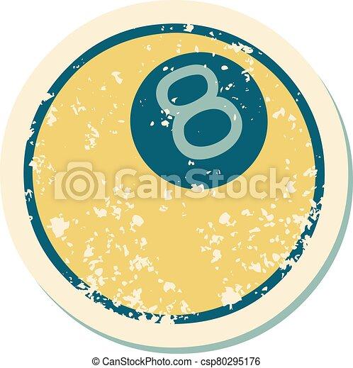 スタイル, ボール, 8, アイコン, 悲嘆させられた, 入れ墨, ステッカー - csp80295176