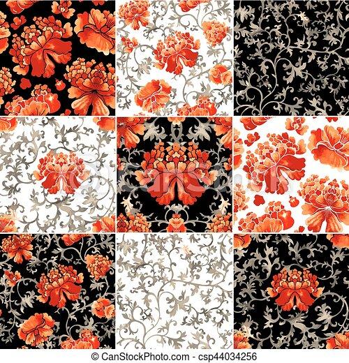 スタイル, 中国語, 装飾, 壁紙, pattern., seamless, 水彩画, 花 - csp44034256