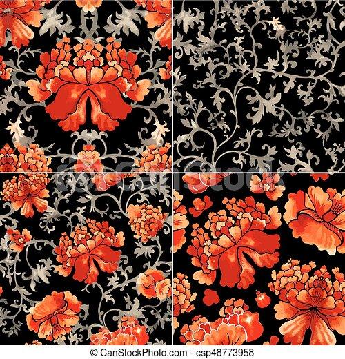 スタイル, 中国語, 装飾, 壁紙, pattern., seamless, 水彩画, 花 - csp48773958