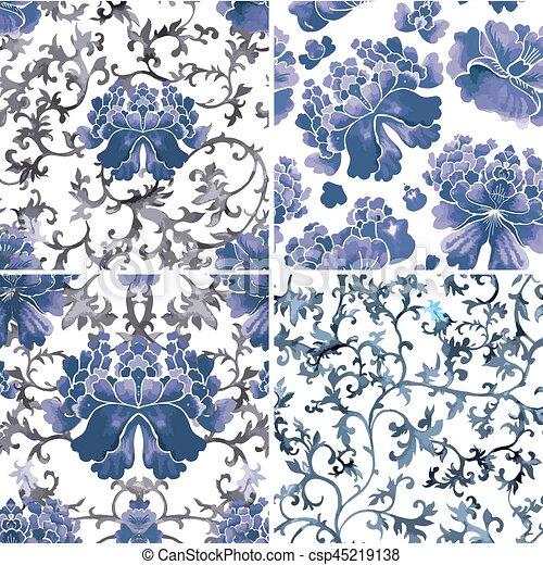 スタイル, 中国語, 装飾, 壁紙, pattern., seamless, 水彩画, 花 - csp45219138