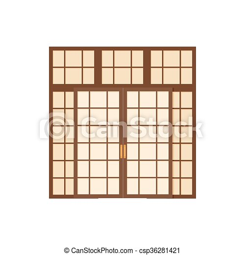 スタイル, 二重ドア, 漫画, アイコン - csp36281421