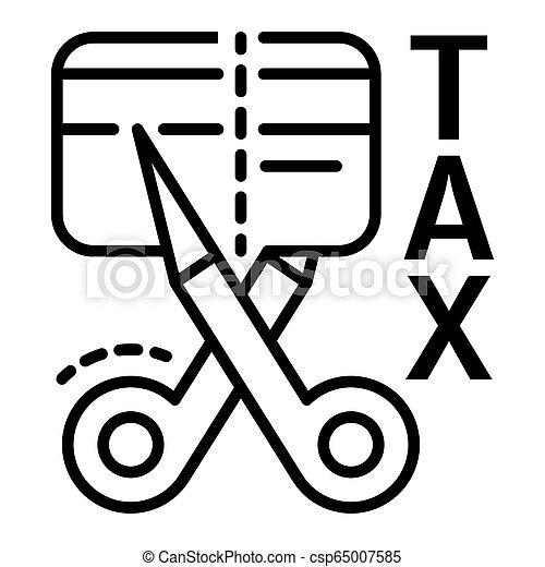 スタイル, 切口, アウトライン, 税, クレジット, アイコン, カード - csp65007585