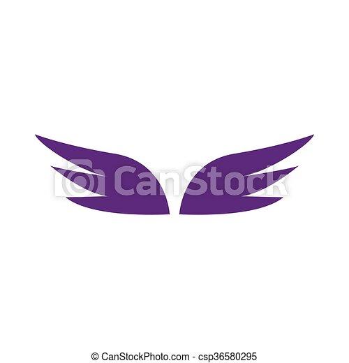 スタイル, 単純である, 対, すみれ, アイコン, 翼 - csp36580295