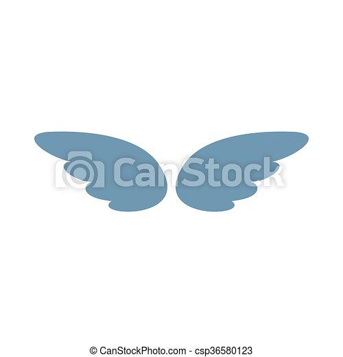 スタイル, 単純である, 銀, 対, アイコン, 翼 - csp36580123
