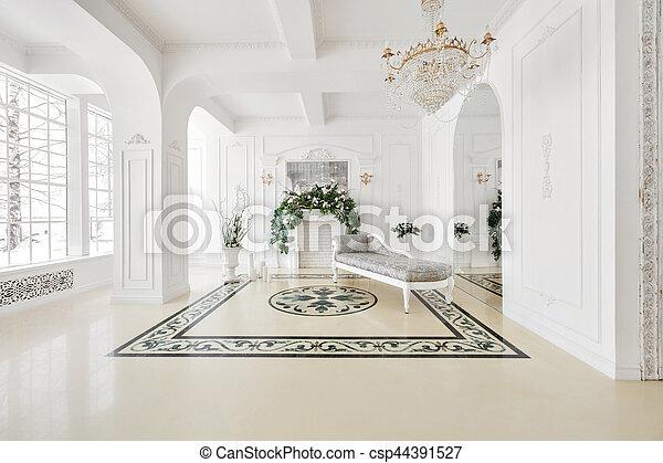 スタイル, 型, 贅沢, 貴族, 内部, 暖炉 - csp44391527