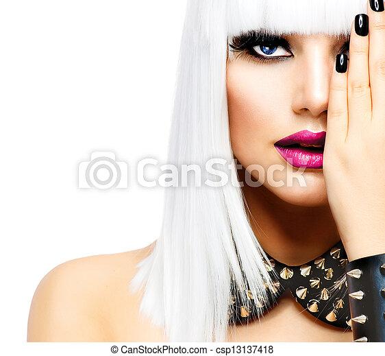 スタイル, 女, ファッション, 美しさ, girl., 隔離された, 不良, 白 - csp13137418