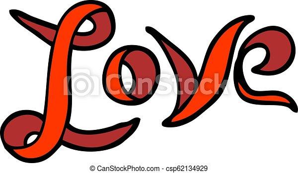 スタイル, 愛, いたずら書き, 手, 引かれる, 旗, 漫画 - csp62134929