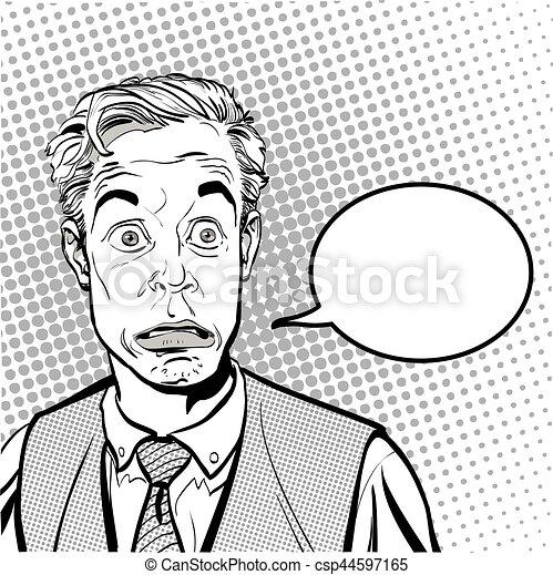 スタイル, 概念, 芸術, illustration., 人々, 考え, ポンとはじけなさい, promo., バックグラウンド。, businessman., man., 広告, 肖像画, halftone, style., 驚かされる, レトロ - csp44597165