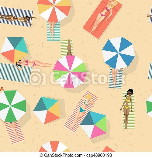 スタイル, 浜。, 日光浴をしなさい, パターン, seamless, ビキニ, ベクトル, 背景, 漫画, 女性 - csp48960193