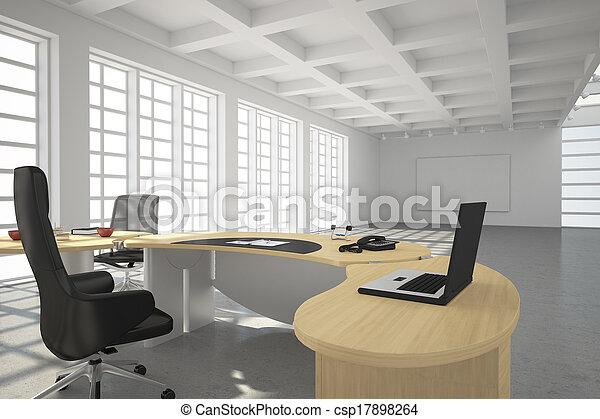 スタイル, 現代, 屋根裏, オフィス - csp17898264