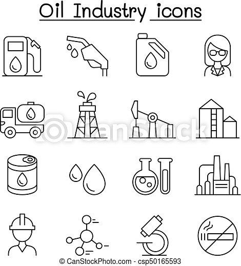 スタイル, 石油産業, セット, 薄いライン, アイコン - csp50165593