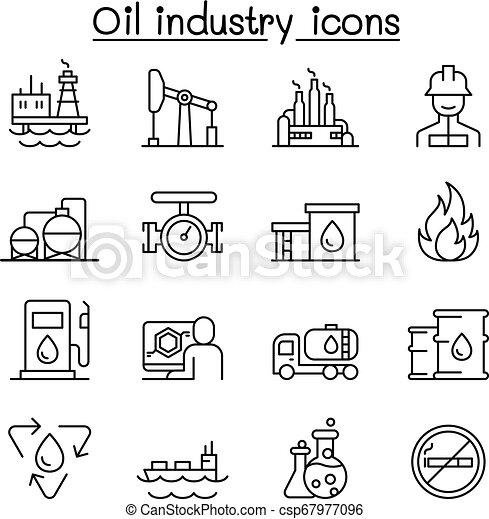 スタイル, 石油産業, セット, 薄いライン, アイコン - csp67977096