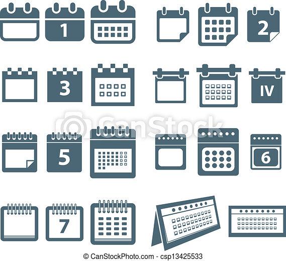 スタイル, 網, 別, アイコン, コレクション, カレンダー - csp13425533