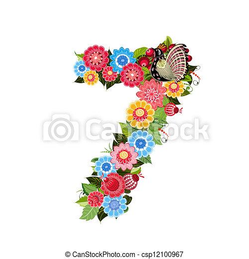 スタイル, 花, khokhloma, 数, 鳥 - csp12100967