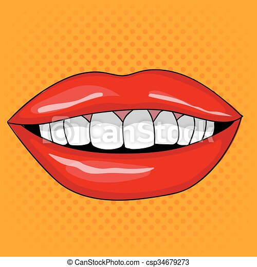 スタイル, 芸術, 女性, ポンとはじけなさい, 唇, レトロ, かなり, 微笑 - csp34679273