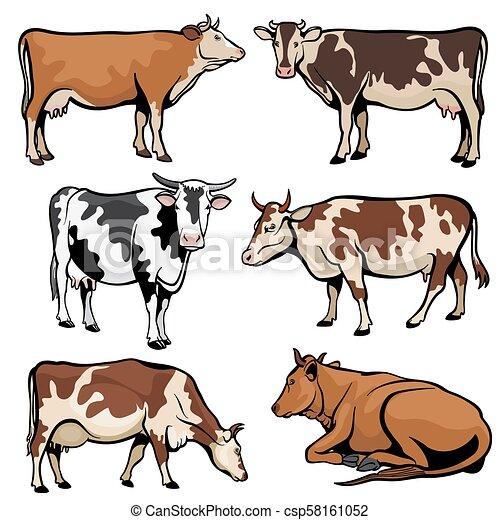 スタイル 農場 漫画 ベクトル 乳牛 牛 農場 漫画 イラスト