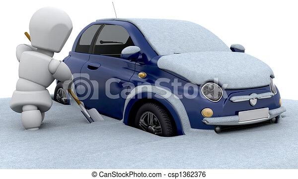 スタックした, 雪 - csp1362376