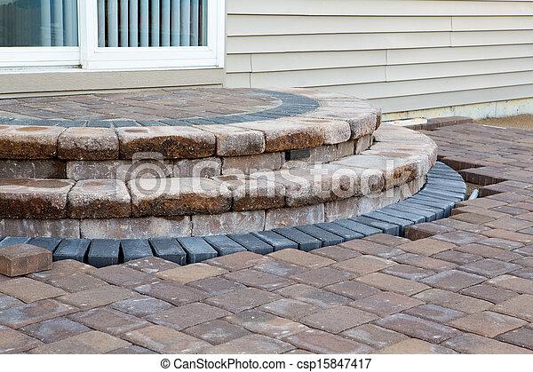 ステップ, 側, 中庭, 光景 - csp15847417