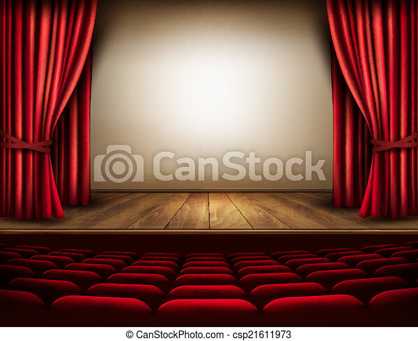 ステージ, seats., 劇場, vector., カーテン, 赤 - csp21611973