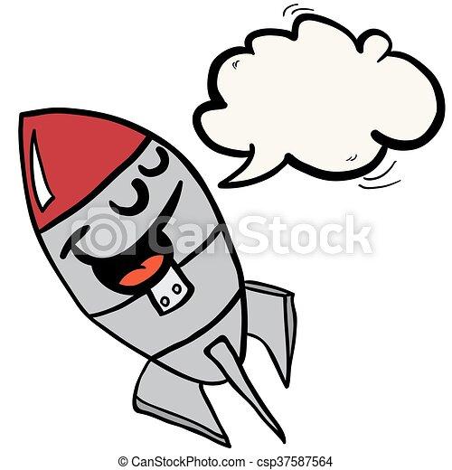 スピーチ泡, ロケット, 幸せ - csp37587564