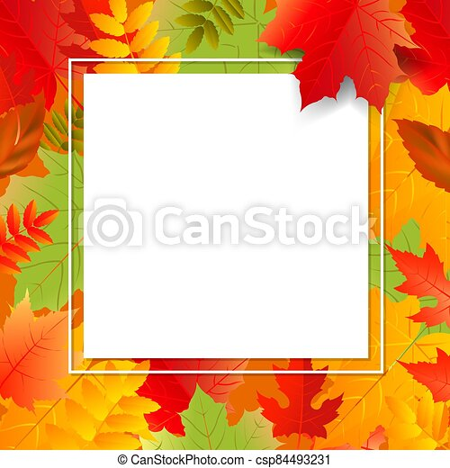 スピーチ泡, 色, 秋, 背景, 透明, ポスター, 葉 - csp84493231