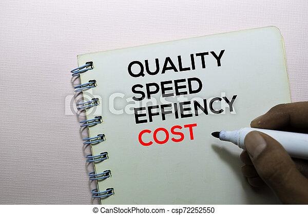 スピード, オフィス, テキスト, 隔離された, コスト, 品質, 効率, 机, 本 - csp72252550