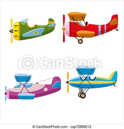 スピード, 別, セット, 個人的, Monoplane., 飛行機, Colour., 隔離された, 航空機, ベクトル, 複葉機, レトロ, スタイル, 漫画