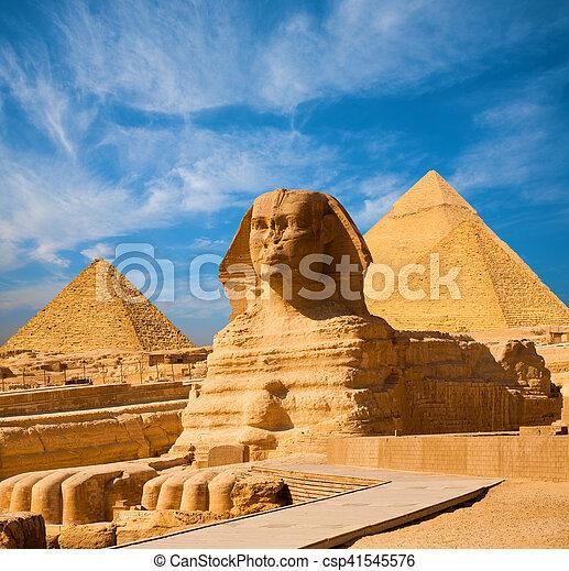 スフィンクス, すべて, 体, エジプト, スカイブルー, フルである, ピラミッド - csp41545576
