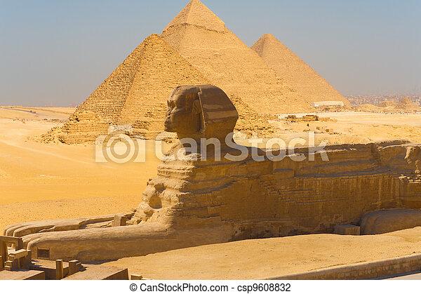 スフィンクス, 合成, ギザピラミッド, サイド光景 - csp9608832
