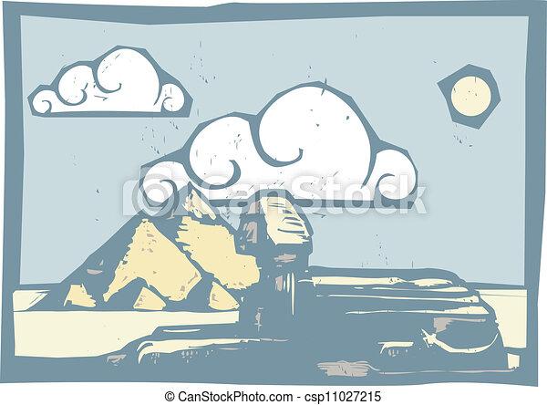 スフィンクス, 雲, エジプト人 - csp11027215