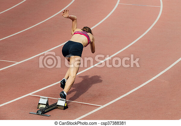 スプリンター, 女の子, 400, メートル, 始めなさい - csp37388381