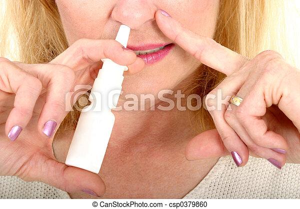 スプレーをかける, スプレー, 鼻, 鼻 - csp0379860