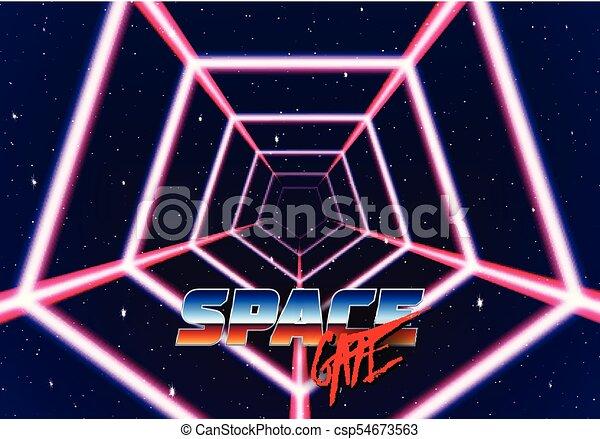 スペース, トンネル, ライン, ネオン, スタイルを作られる, 80s, lazer - csp54673563