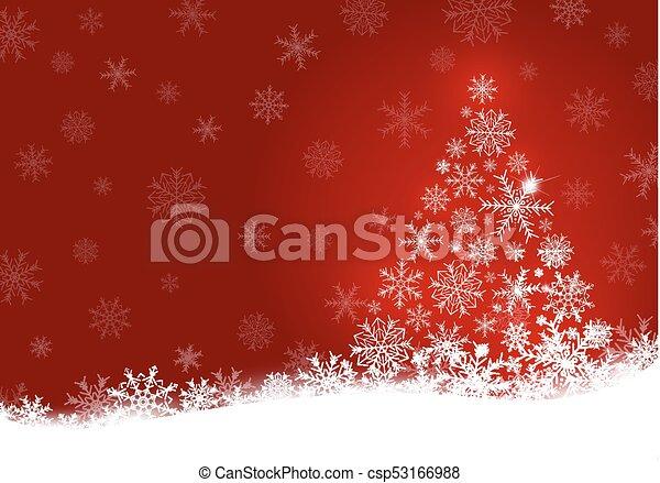 スペース, 木, イラスト, クリスマス, ベクトル, デザイン, 背景, コピー, 雪片, 赤 - csp53166988