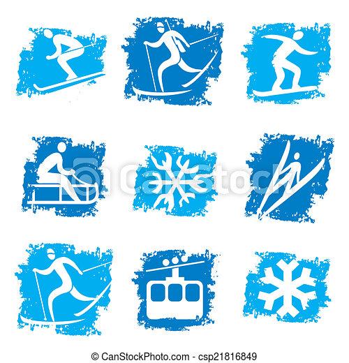 スポーツ, グランジ, 冬, アイコン - csp21816849