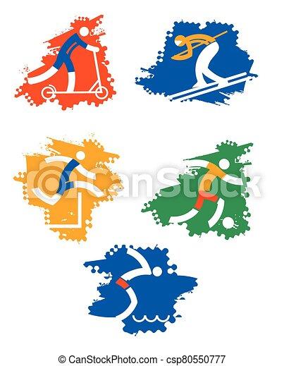 スポーツ, グランジ, icons. - csp80550777