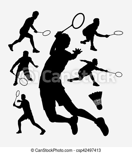 スポーツ バドミントン シルエット Use トーナメント プレーヤー バドミントン デザイン スポーツ Want 網 使用 シルエット どれ 何 誰 も 容易である あなた よい 印 ステッカー シンボル Canstock