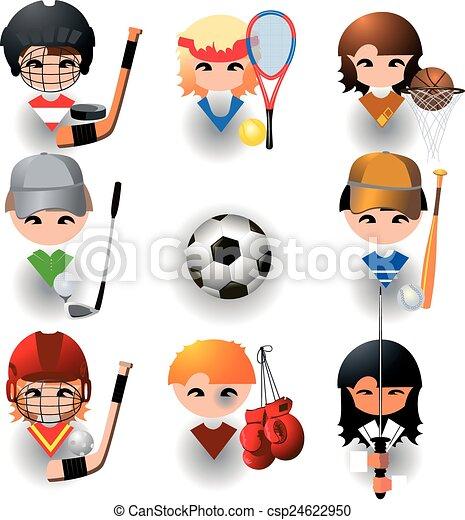スポーツ, ベクトル, コレクション, アイコン - csp24622950