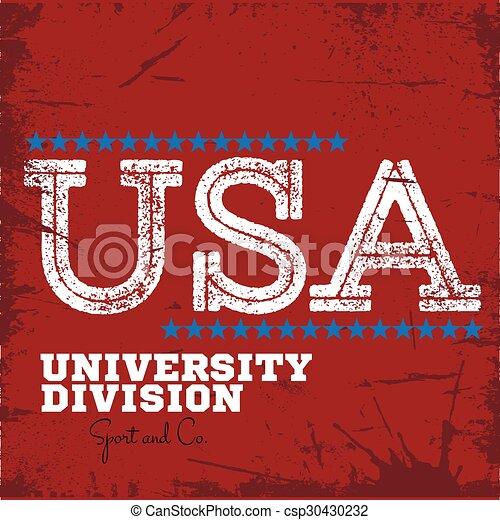 スポーツ, ラベル, varsity, 大学, チーム, 分割, 大学 - csp30430232